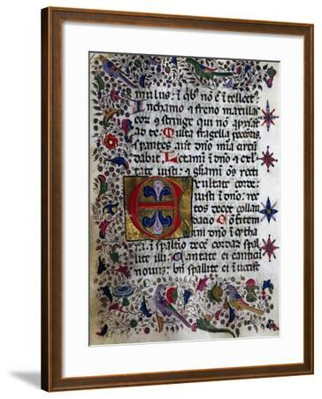 Illuminated Page from Book of Hours in Popular Sicilian Script, Manuscript, Italy--Framed Giclee Print