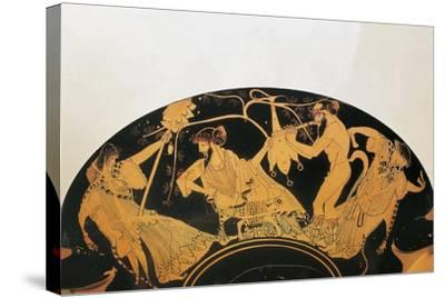 Greek Civilization, Red-Figure Pottery, Bowl by Painter of Brygos, Portraying Dionysus and Silenus--Stretched Canvas Print