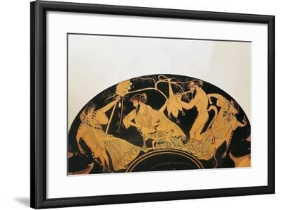 Greek Civilization, Red-Figure Pottery, Bowl by Painter of Brygos, Portraying Dionysus and Silenus--Framed Giclee Print
