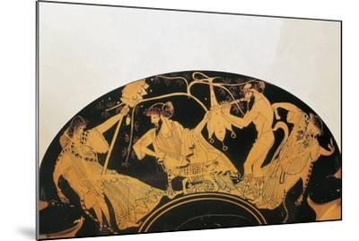 Greek Civilization, Red-Figure Pottery, Bowl by Painter of Brygos, Portraying Dionysus and Silenus--Mounted Giclee Print