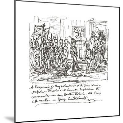 Sketch in Pen and Ink Depicting Robert Heading a Boy Regiment--Mounted Giclee Print