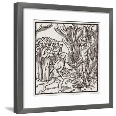 A Heretic Being Burnt at the Stake During the Tudor Period in England--Framed Giclee Print