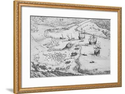 French Disembarking on Cayenne Island by Isreal Silvestre--Framed Giclee Print