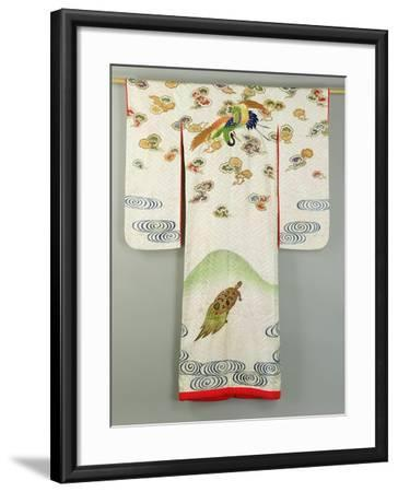 Uchikake Wedding Robe Decorated with a Crane and a Tortoise, Japanese--Framed Giclee Print