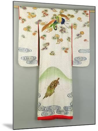 Uchikake Wedding Robe Decorated with a Crane and a Tortoise, Japanese--Mounted Giclee Print
