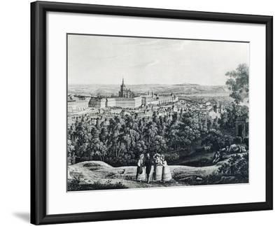 Panoramic View of Prague, Czech Republic 19th Century Engraving--Framed Giclee Print