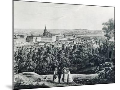 Panoramic View of Prague, Czech Republic 19th Century Engraving--Mounted Giclee Print