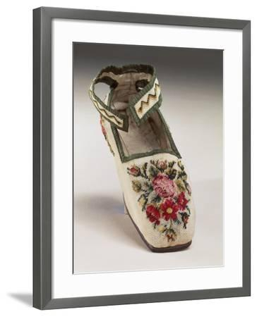 Children's Shoe, Embroidered in Silk Small Stitch on Linen, with Floral and Geometric Motif--Framed Giclee Print