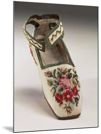 Children's Shoe, Embroidered in Silk Small Stitch on Linen, with Floral and Geometric Motif--Mounted Giclee Print