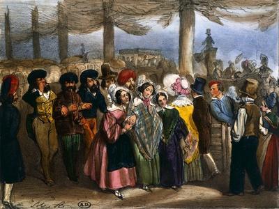 Longchamp in Paris, 1840--Framed Giclee Print