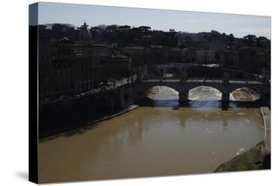 Italy. Rome. Tiber River from Castel Sant'Angelo--Stretched Canvas Print
