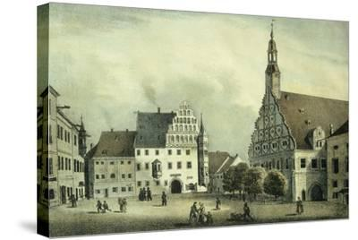 The Square Market in Zwickau with Robert Schumann's Birth Place, Germany 19th Century Print--Stretched Canvas Print