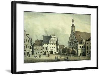 The Square Market in Zwickau with Robert Schumann's Birth Place, Germany 19th Century Print--Framed Giclee Print