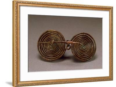 Double-Spiral Bronze Fibula--Framed Giclee Print