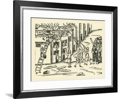 A 16th Century Fire Brigade at Work--Framed Giclee Print
