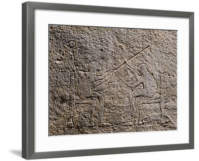 Engraved Stela Depicting Two Seated Figures, Apulia, Italy, Detail--Framed Giclee Print