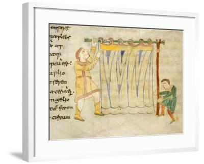 Drapers, Miniature from a Work by Rabano Mauro, Manuscript, Italy 11th Century--Framed Giclee Print