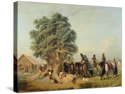 Travelers Resting, Prilidiano Pueyrredon, Argentina--Stretched Canvas Print