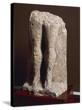 "Fragment of Stele-Statue known as ""Devil's Legs"", from Collelongo, Province of L'Aquila, Italy--Stretched Canvas Print"