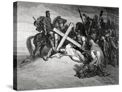Jesus Reaches the Top of Calvary, Engraving, 19th Century--Stretched Canvas Print