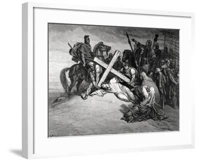Jesus Reaches the Top of Calvary, Engraving, 19th Century--Framed Giclee Print