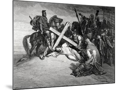Jesus Reaches the Top of Calvary, Engraving, 19th Century--Mounted Giclee Print