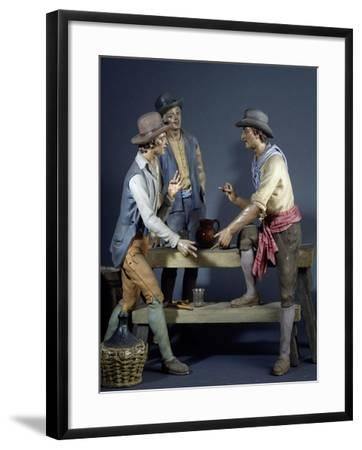 Characters Playing Morra in Osteria, Papier-Mache Nativity Figurines, 1950-1970--Framed Giclee Print