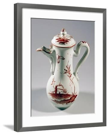 Coffee Pot Decorated with Landscape and Insects, Majolica--Framed Giclee Print