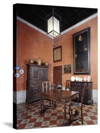 Italy, Sant Angelo Lodigiano, Morando Bolognini Castle, Dining Room--Stretched Canvas Print