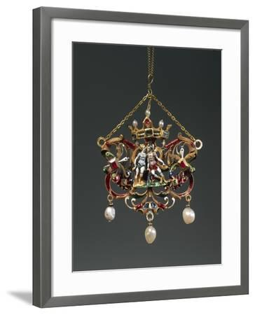 Enameled Gold Pendant Depicting Venus and Mars, Set with Pearls, Rubies and Emeralds--Framed Giclee Print