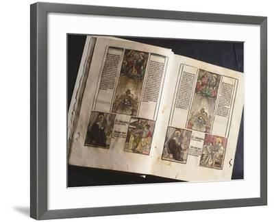 Illuminated Page from a Manuscript Preserved in St Scholastica Library in Subiaco, Lazio, Italy--Framed Giclee Print