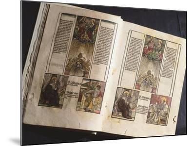 Illuminated Page from a Manuscript Preserved in St Scholastica Library in Subiaco, Lazio, Italy--Mounted Giclee Print