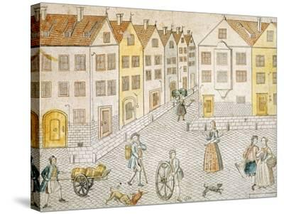 Square of Small Town, Germany 18th Century--Stretched Canvas Print