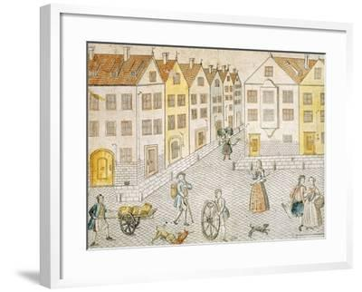 Square of Small Town, Germany 18th Century--Framed Giclee Print