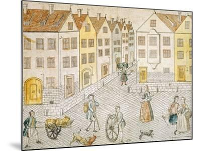 Square of Small Town, Germany 18th Century--Mounted Giclee Print