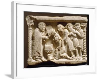Purification of Knight, Detail from Holy Water Font, Emilian Sculptor, Early 12th Century, Relief--Framed Giclee Print