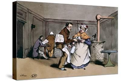 A Cafe' in Paris, Ca 1830, France 19th Century--Stretched Canvas Print