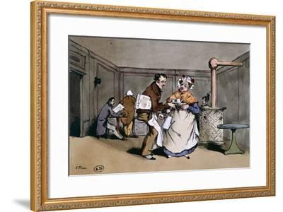 A Cafe' in Paris, Ca 1830, France 19th Century--Framed Giclee Print
