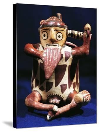 Anthropomorphic Polychrome Terracotta Vessel with Music Symbols, Peru, Nazca Culture--Stretched Canvas Print