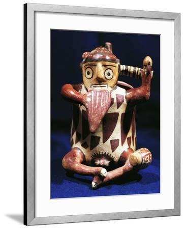 Anthropomorphic Polychrome Terracotta Vessel with Music Symbols, Peru, Nazca Culture--Framed Giclee Print