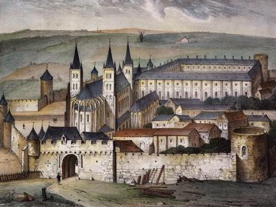 Saint-Germain-Des-Pres Abbey in Paris Lithograph--Framed Giclee Print