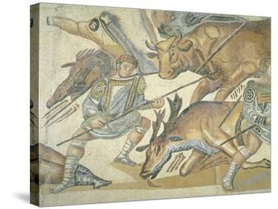 Mosaic Depicting a Hunting Scene, from Terranova, Near Tusculum, Lazio--Stretched Canvas Print
