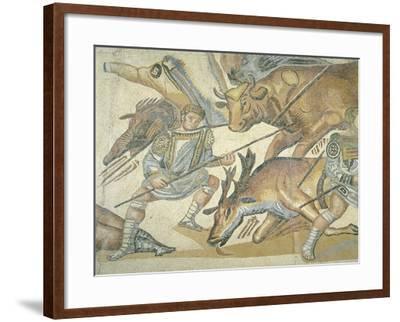 Mosaic Depicting a Hunting Scene, from Terranova, Near Tusculum, Lazio--Framed Giclee Print