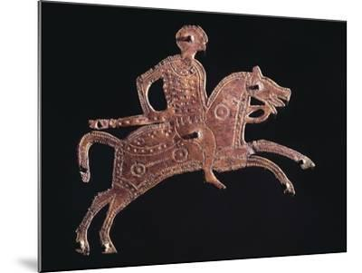 Gilt Bronze Buckle Ornament in Shape of a Horseman, from Stabio, Switzerland--Mounted Giclee Print