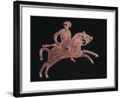 Gilt Bronze Buckle Ornament in Shape of a Horseman, from Stabio, Switzerland--Framed Giclee Print