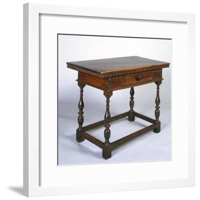 Tuscan Table in Walnut with Turned Legs and Stretchers, Italy, 16th Century--Framed Giclee Print