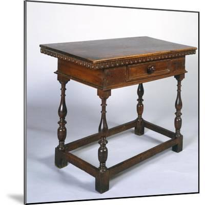 Tuscan Table in Walnut with Turned Legs and Stretchers, Italy, 16th Century--Mounted Giclee Print