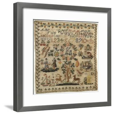 Beginner's Work, Embroidered in Cross-Stitch on Linen with the Initials E.F E P.B. and the Date--Framed Giclee Print