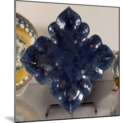 Blue Glazed Terracotta Leaf-Shaped Plate, China, Tang Dynasty--Mounted Giclee Print