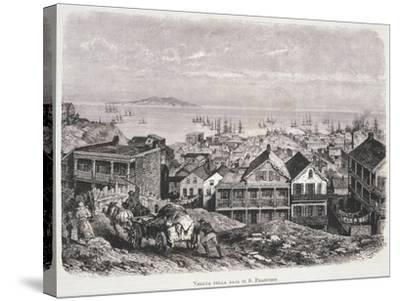 View of San Francisco Bay from Illustrazione Italiana Magazine, 10th August 1879--Stretched Canvas Print